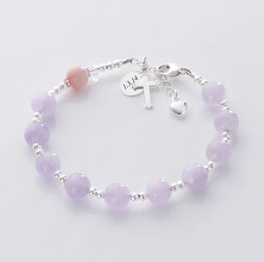 Personalised Rosary Bracelet, Amethyst & Pearl | Heavens Blessings
